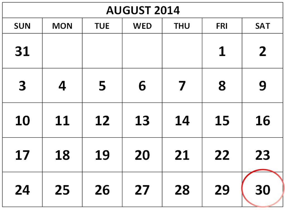 calendar for august 2014